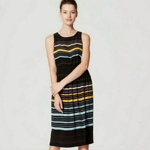 LOFT Black Striped Midi Dress